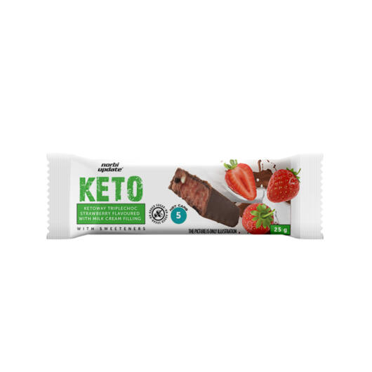 Norbi Update Ketoway- Eperízű tejszelet ét-, tej-, fehércsokoládéval dúsítva, belga tejcsokoládéba mártva, édesítőszerekkel 25 g