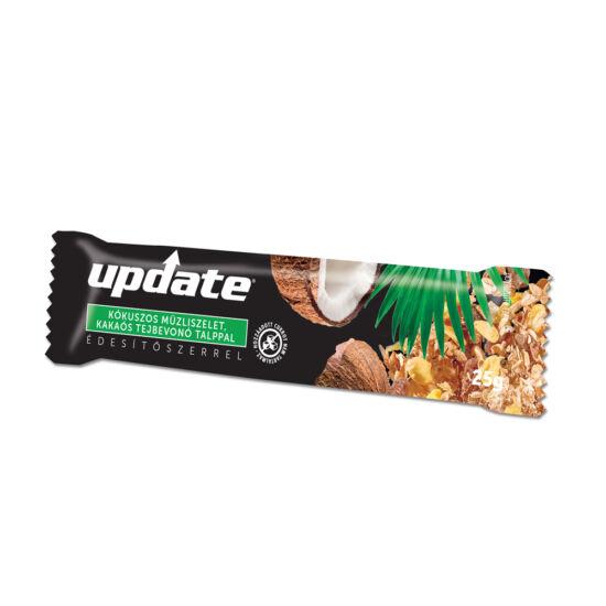 Update Kókuszos müzliszelet kakaós tejbevonó talppal, édesítőszerrel 25g